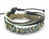 C-F3.2 B303-001 Bracelet Set 3pcs Leather-Rope-Chain-Beads