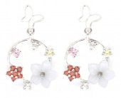 E-B18.5 SE104-326 925S Silver Earrings 12mm Circle with Butterfly and Cubic Zirconia