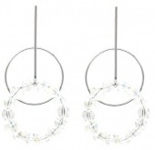 C-B21.3 E2019-008 Earring Circles with Faceted Glass Beads 55mm Silver