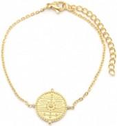 B-C2.1  B2003-016G S. Steel Bracelet 15mm Coin Gold
