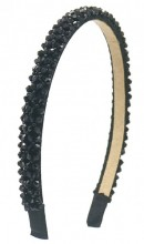 S-E5.4 H004-001D Headband with Faceted Glass Beads Black