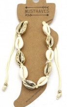 J-A3.2 ANK2001-007B Anklet with Shells Gold-Beige