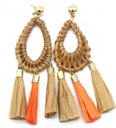 E-E9.3 E538-006 Rattan Statement Earrings 10x3cm