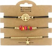 F-D15.2  B1936-024C Bracelet Set 3pcs Tree of Life - Star - Stones Black-Gold
