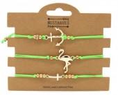 F-C21.2 B316-044 Bracelet Set 3pcs Flamingo-Anchor-Cross Green