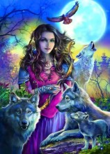 T-D8.2 X365 Diamond Painting Set Wolves Lady 40x30cm