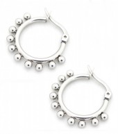 C-C18.2 E1264-004S Stainless Steel Earrings with Dots 15mm Silver