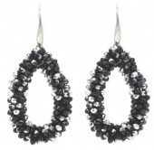 A-D2.1  E007-001 Facet Glass Beads 4.5x3.5cm Black-Silver