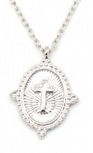 G-B6.1 N304-037 Metal Necklace with Cross Charm 1.5cm Silver
