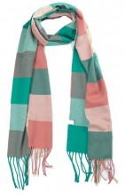 T-M6.2 SCARF406-001D Checkered Scarf with Fringes 170x31cm Multi Color