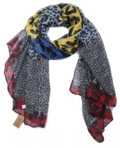 X-L8.1 SCARF509-002C Multi Color Animal Print 180x85cm