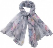 X-G3.2  SCARF507-007C Scarf with Flowers 180x90cm Grey
