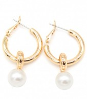 A-E3.6  E304-032 Earrings with Pearl 3.5x2cm Gold