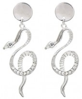 B-C23.2 E1631-049B Earrings Snake with Crystals  6x2cm Silver