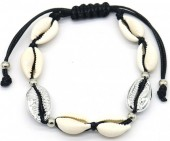 C-F18.1 B2001-026A Bracelet with Shells Silver-Black