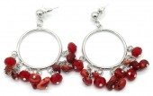 D-E2.1 E518-002B Earrings with Stones 4.5x2.5cm Red-Silver