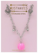 G-E8.5 N2053-006 S. Steel Necklace Hearts and Macron 36-39cm For Kids