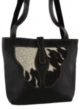 X-H5.1 Leather with Cowhide Bag 37x33cm Mixed Colors - Black