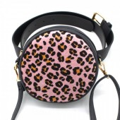 Z-C2.1 BAG212-001 Combination Bum-Shoulder Bag Leopard incl Belt 14x14x6cm Black-Pink