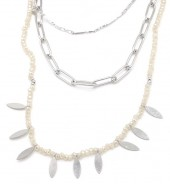 C-D5.3 N1561-201S S.Steel Necklace Layered with Glass Stones Silver