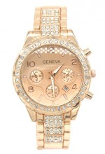 B-B6.3 W003-010 Metal Quartz Watch with Crystals and Date 38mm Rose Gold