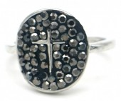 A-F20.4 R532-003S Adjustable Ring Cross with Crystals Silver