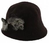X-H9.1 Woolen Hat with Fake Fur Pompons Dark Brown