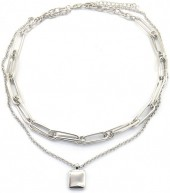 B-E22.3 N2019-014S Layered Chain Necklace Silver
