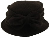 Y-C5.2 Woolen Hat with Bow Dark Brown