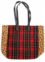 L-C8.2 BAG120-004 Large PU Shopper with Checkered Design and Panther Print 37x43cm