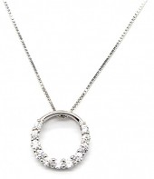 A-C7.3 SN104-102 Necklace 925S Silver with 12mm Circle and Zirconias