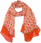X-C2.2 SCARF507-003A Scarf with Hearts 180x90cm Orange