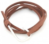 B019-058 PU Wrap Bracelet with Hook Brown-Silver