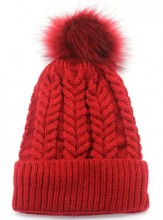 T-F7.2 HAT003-003G Hat with Fake Fur Bordeaux Red