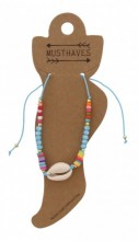 D-A15.1  ANK221-013 Anklet with Beads and Shell Blue
